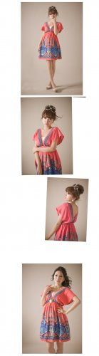 Free shipping New Lady Women's Sexy Double Deep-V Open Textile Printing Dress Blouse