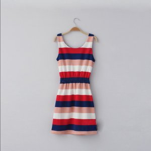 Free shipping New Lady Women's Sexy No Sleeve Rainbow Stripe Bowknot Dress