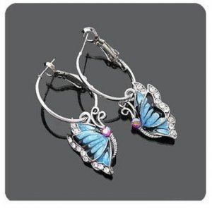 Cute Blue Storm Butterfly Dangle Charm Fashion Earrings