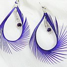 fancy feather synthetic quart earring purple color