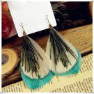 Beautiful green peacock feather sexy fashion earring jewelry new