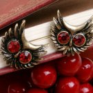 Vintage owl earrings diamond big eyes copper and red eyes