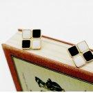 Retro Black and White Square Earrings
