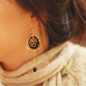 Golden Color Rose Bohemia Tassel Fashion Earrings