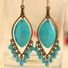 New Fashion Bohemian Style Blue Drop Tassel Earrings Jewelry Ladies Blue