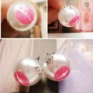 Vintage White Faux Pearl Sexy Lip Print Ear Studs Earrings Style Fashion