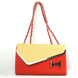 Women's Color Blocking H-shaped Embellished Casual Tote Handbag Shoulder Bag