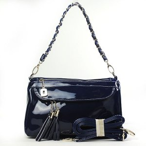 Women's Navy Blue Shiny PU Clutch Zipper Bag Handbag Shoulder Bag