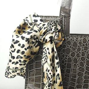 New Lady Fashion Alligator Pattern Scarf Embellished Handbag Bag Greyish-green