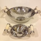 Stainless steel 2 sizes salad bowl set with spoon and fork server buffalo bone handles