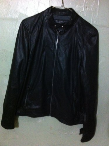 Women's soft Black Leather Lined Jacket Coat Medium