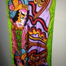 "57 x 15"" Silk Hand Rolled Oscar de la Renta Oblong Scarf multi color Japan"