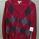 NWT Women's St. John's Bay Argyle Sweater Cardigan Medium