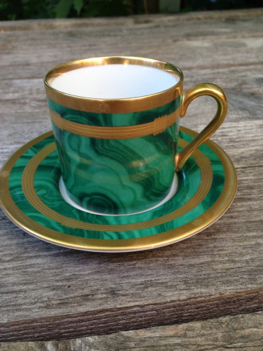 Gaudron Malachite Green by Christian Dior Demitasse Cup Saucer set Japan