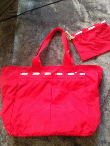 New LeSportsac Medium zip Tote & Case Tribeca Red Pepper USA