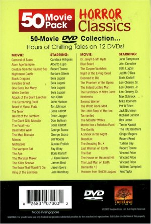 50 Movie Pack Horror Classiscs
