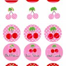 Cherry Girl Digital Bottlecap Images 1 Inch Circle