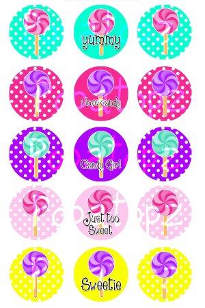Candy Girl Digital Bottlecap Images 1 Inch Circle