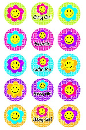Flower Smiley Face Digital Bottlecap Images 1 Inch Circle
