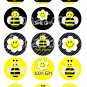 Bumble Bees Digital Bottlecap Images 1 Inch Circle