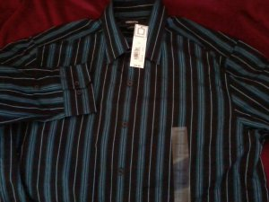 Blue stripe mens liz claiborne shirt