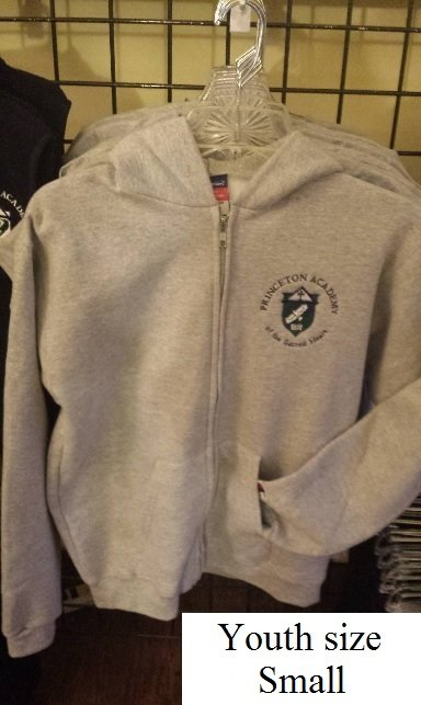 Youth Small Gray Zip Front Sweatshirt
