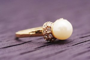 9K Yellow GOLD Layered ring with Simulated Pearl Size 7.5