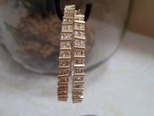 Elegant Gold Tone CZ Hoop Earrings