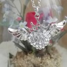 **Stunning Crystal Angel Heart with Crown Necklace