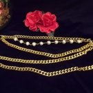 **Stunning VINTAGE Gold tone & Pearl Belly Chain