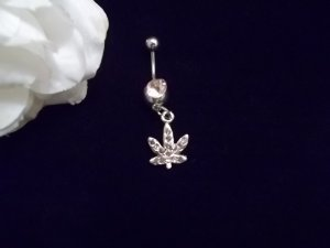 ***PINK Ice Weed Belly Button Piercing 14G