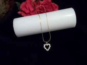 BEAUTIFUK 14K/925 Sterling Silver Heart Necklace