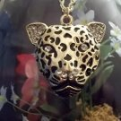 GOLD CLAD LEOPARD HEAD NECKLACE