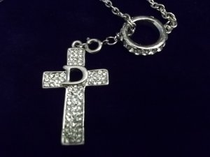Beautiful Rhinestone Cross and Ring Necklace