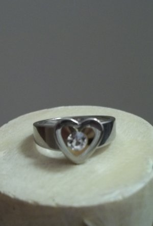 Two Tone Stainless Steel Heart Ring Size 8