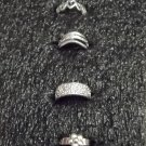 Various Design Silver Toe Rings 4 Pack