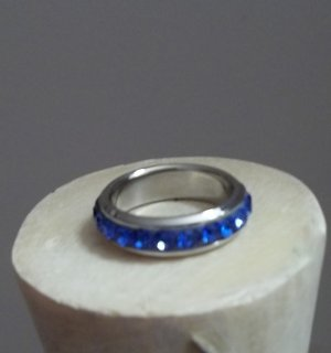 Blue Rhinestone Stainless Steel Band Size 6.5