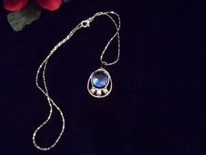 Oval 18K WGP Simulated Sapphire Necklace