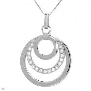 925 Silver and CZ Circle Necklace