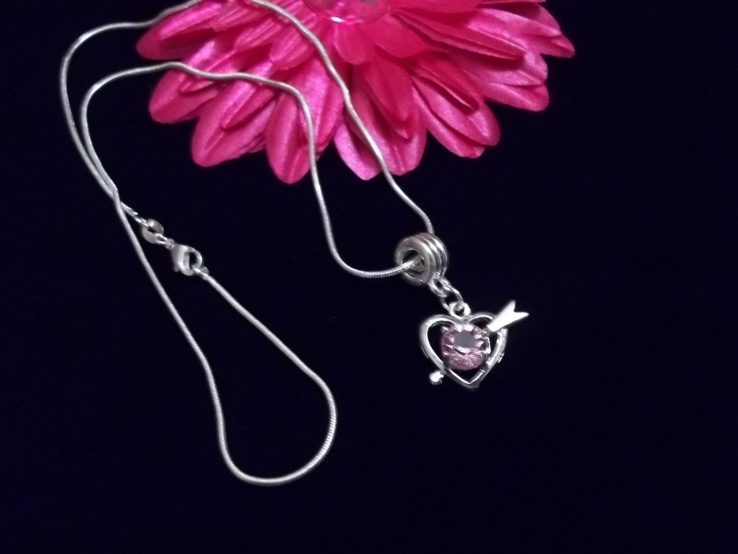 CUPID PINK CRYSTAL HEART NECKLACE