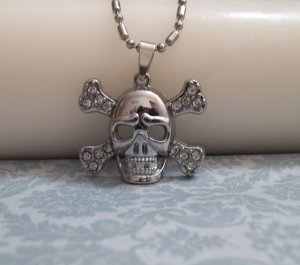 Rhinestone Skull and Crossbones Necklace