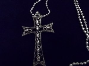 *Mens Stainless Steel Skull Cross Necklace*