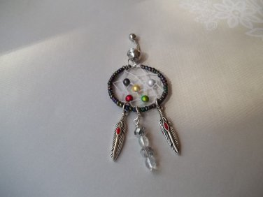 Black Bead Dream Catcher Belly Ring