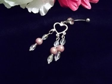 Pink Glow Crystal Belly Ring