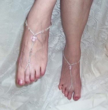 Pink Glass Heart Barefoot Sandals