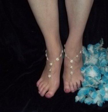 Rhinestone Flower Bridal Barefoot Sandals