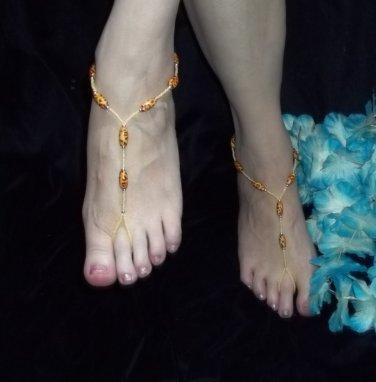 Leopard Bead Barefoot Sandals