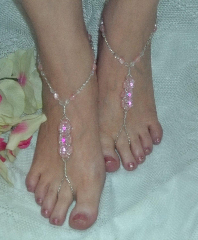 Pink Glow Bead Barefoot Sandals