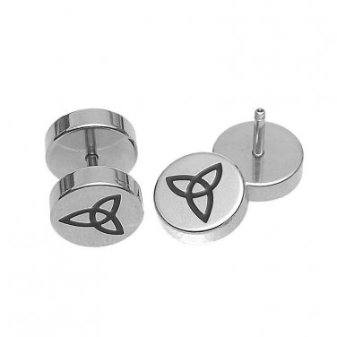 Celtic Triquetra Fake Cheater Earring Studs