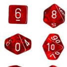Chessex Translucent Red with White 7-dice Polyhedral RPG Dice Set